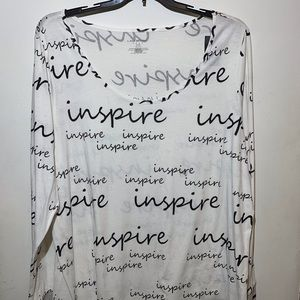 """LANE BRYANT PLUS SIZE top with """"Inspire"""" print."""